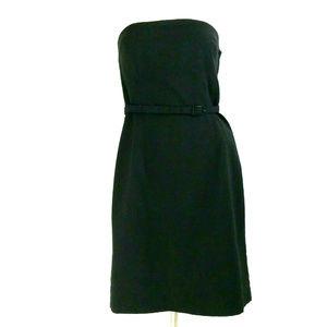 H&M Black Strapless Belted Sheath Cocktail Dress